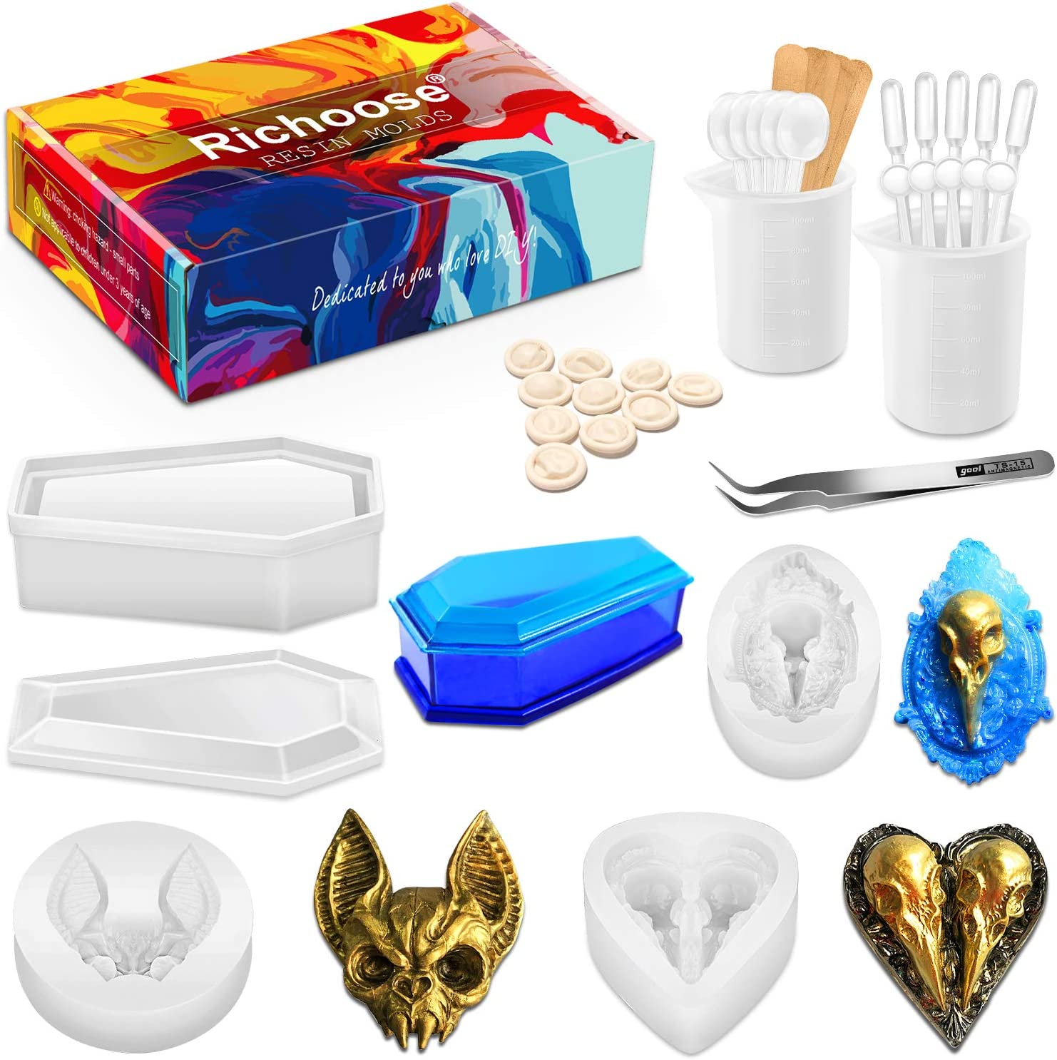 Richoose 38Pcs Resin Silicone Molds Set, Vampire Coffin Casting Storage Box Mold with Including Crow Bat Head Crystal Epoxy Resin Mould and Tool kit for DIY Craft Jewelry Halloween
