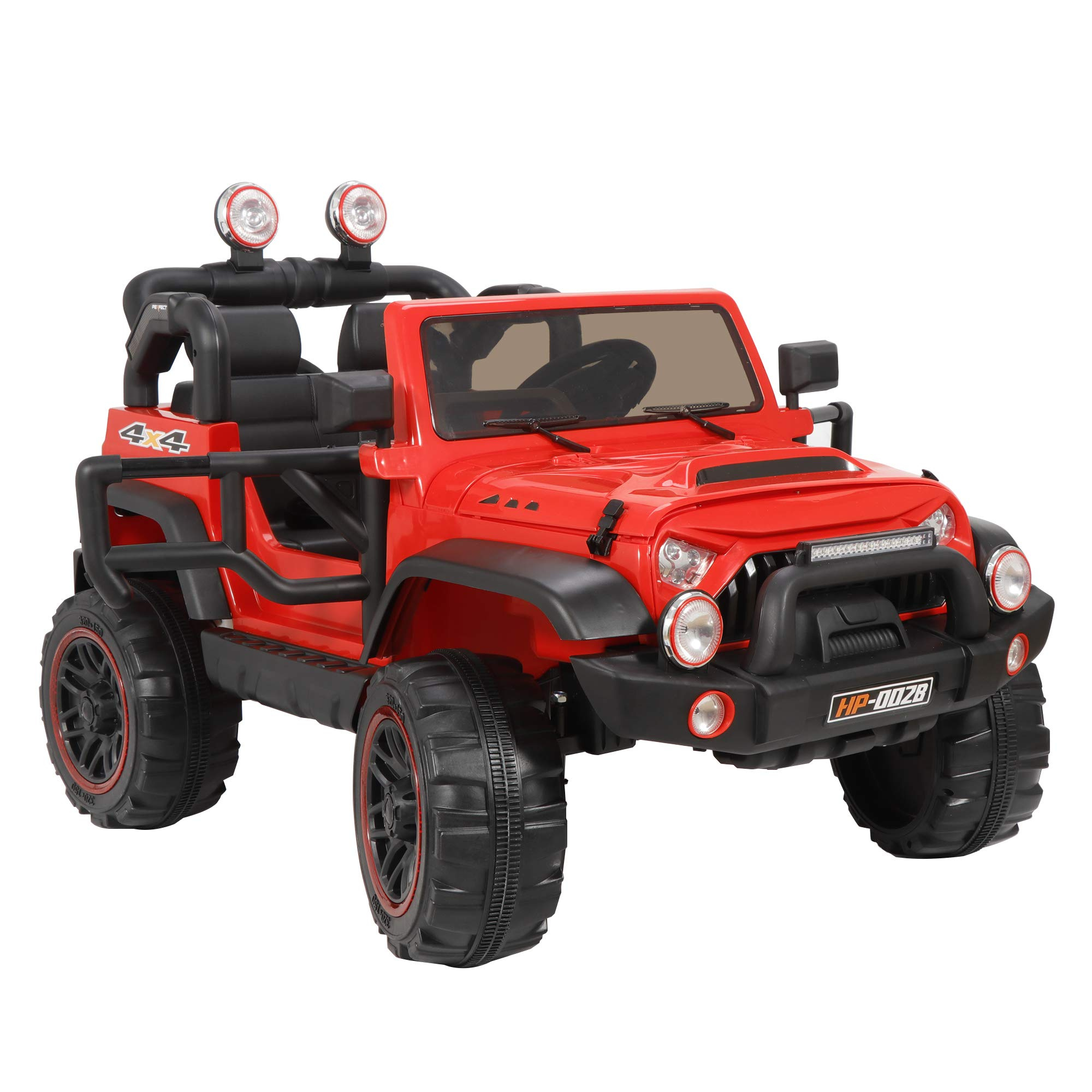 ZENY 12V Kids Ride On Car Truck Electric Ride On Vehicle Toy Children's Motorized Cars with Remote Control,3 Speeds,LED Lights,Double Doors,Story & Music,Spring Suspension (Red)