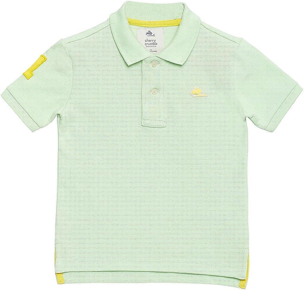 Pista Green Cherry Crumble California Kids Boys Cotton Pique Solid Polo T-Shirt