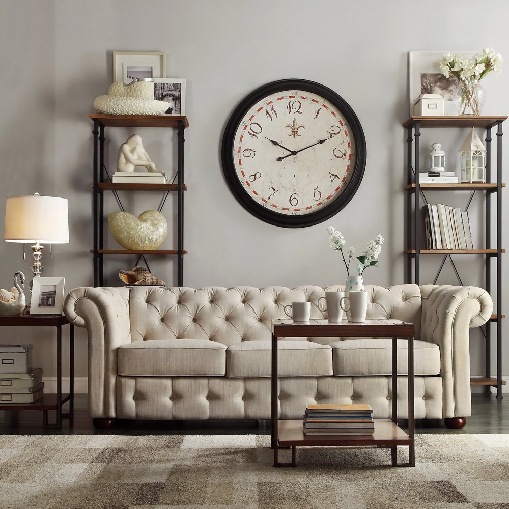 Amazon.com: Tribecca Home Knightsbridge Beige Linen Tufted Scroll Arm Chesterfield  Sofa. Showcasing Tufted Back And Rolled Arms In Beige Linen, ...