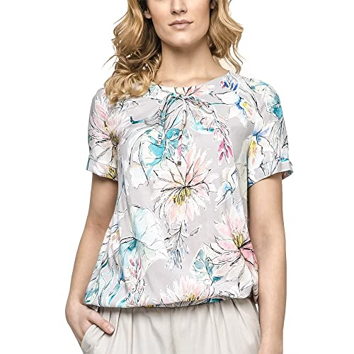 Ennywear 230137 Blusa con Estampado Floreado de Manga Corta Escote Redondo - Hecha EN La UE