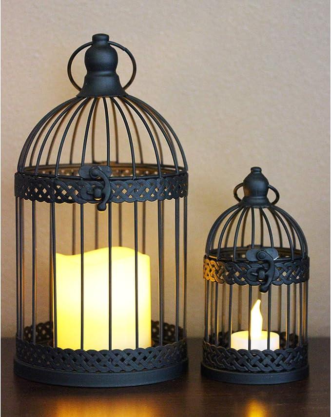 Vela Lanterns Birdcage Candle Lanterns Black Set Of 2 Kitchen Dining Amazon Com