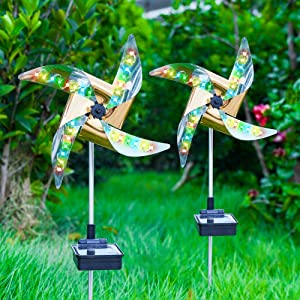 Moobibear Solar Wind Spinner, Garden Stake Pinwheels Wind Spinners with 8 Lighting Modes 4 Color Changing LED Fairy Lights, Outdoor Wind Catcher for Patio Lawn Christmas Holiday Decoration, 2 Pack