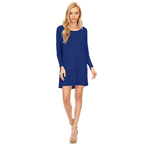 Womens Basic Tunic A-line Casual Short Dress, Long Sleeves, Round Neck,