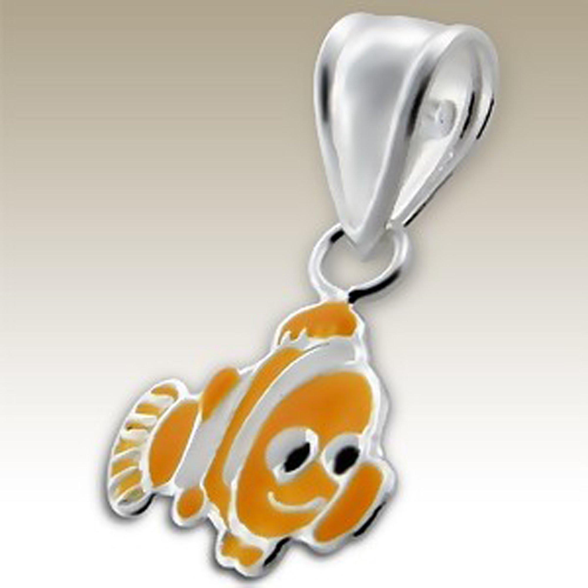 Orange Clown Fish Pendant Children Sterling Silver 925 Small (E13646)