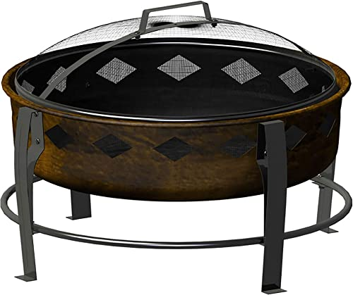 Landmann Bromley 26 Inch Antique Bronze Diamond Accent Outdoor Patio Wood Burning Bowl Fire Pit with Wood Maintenance Poker