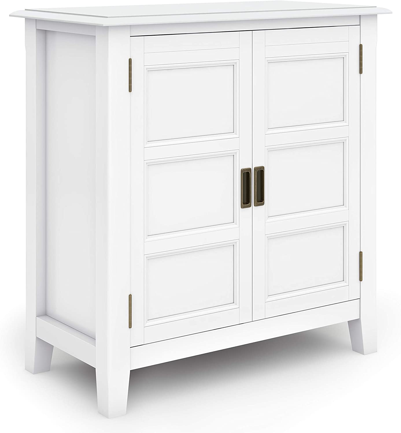SIMPLIHOME Burlington SOLID WOOD 30 inch Wide Traditional Low Storage Cabinet in White, with 2 Doors, 2 Adjustable Shelves