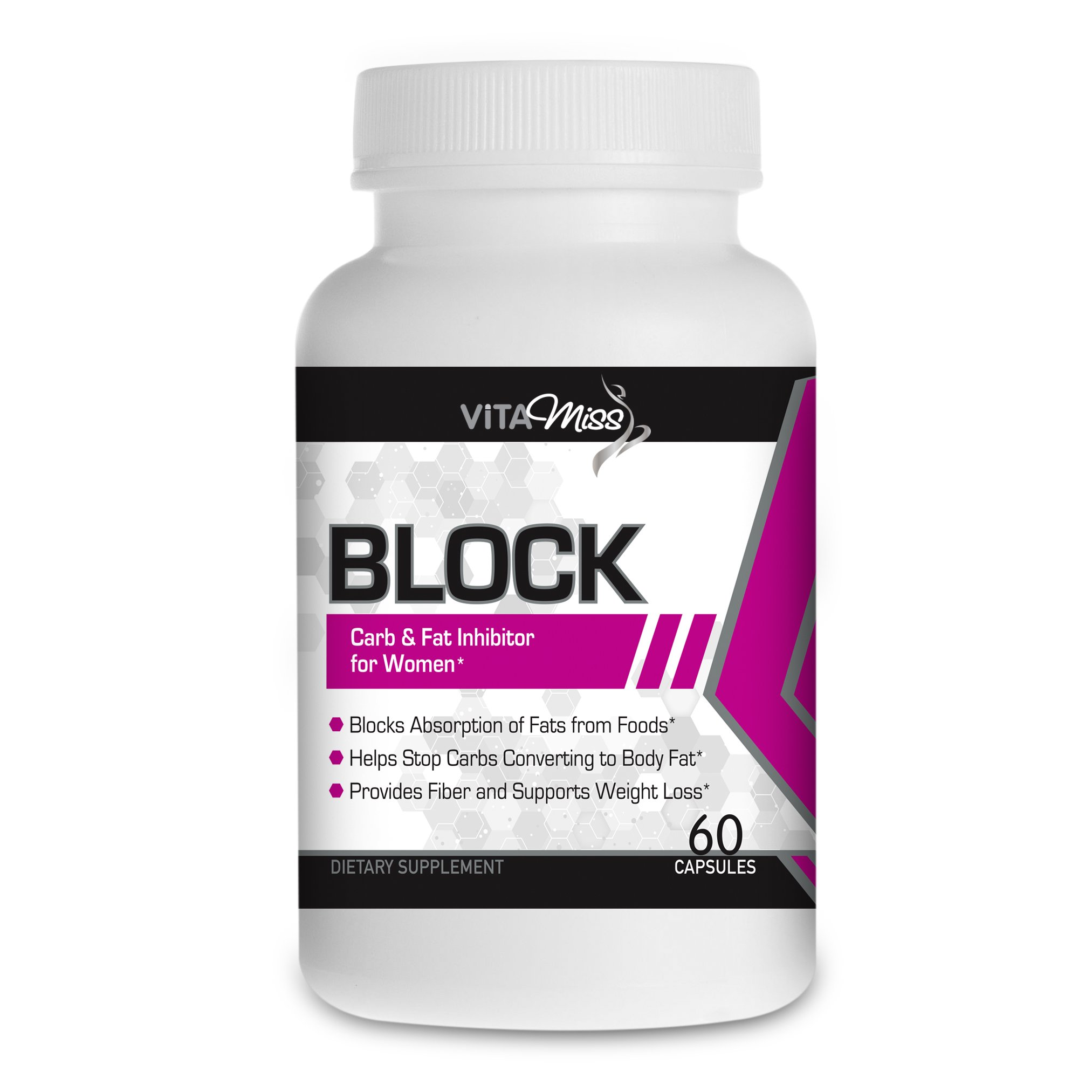 Vitamiss Block -Dual Action Fat & Carbohydrate Intercept Weight Loss Supplement Designed for Women! Block Your Fat and Carb Absorption while Suppressing Your Appetite!