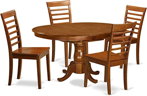 POML5-SBR-W 5 Pc Dining set-Oval Dining Room set-Leaf and 4 Dining Chairs