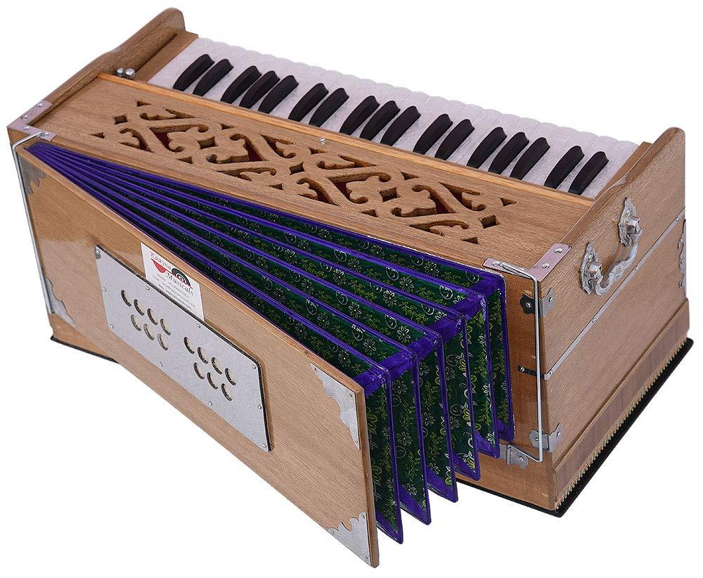 Harmonium Pro Grade By Kaayna Musicals, 11 Stop- 6 Main & 5 Drone, 3½ Octaves, Teak Colour, Flower Bellow, Coupler, Gig Bag - 440 Hz. Best for Yoga, Bhajan, Kirtan, Shruti, Mantra, Meditation, Chant by Kaayna Musicals (Image #2)