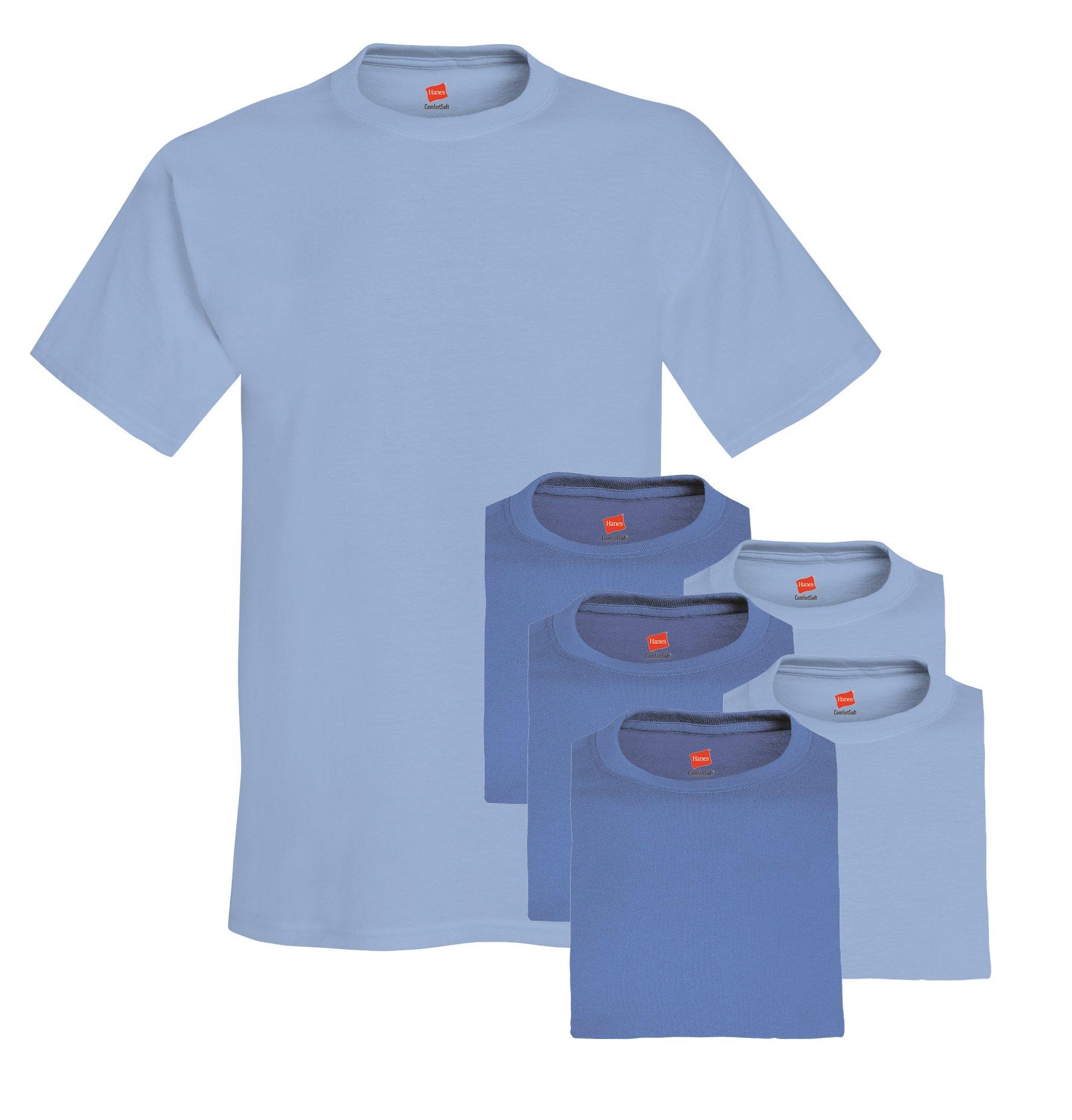Hanes mens 5.2 oz. ComfortSoft Cotton T-Shirt(5280)-DENIM BLUE/LIGHT BLUE-M-3PK
