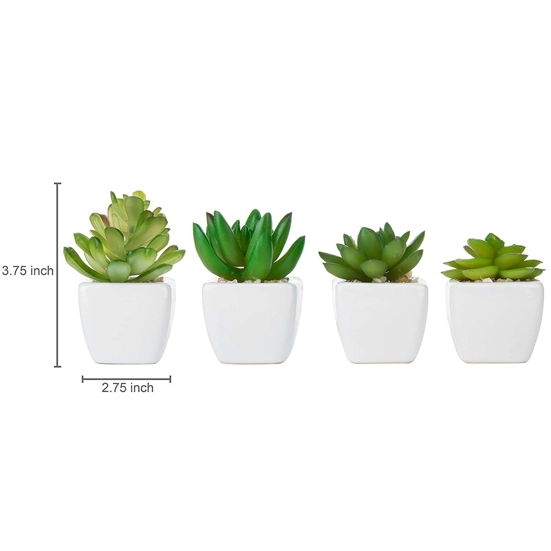Set of 4 Decorative Mini Artificial Succulents Plastic Synthetic Plants with White Ceramic Planter Pots