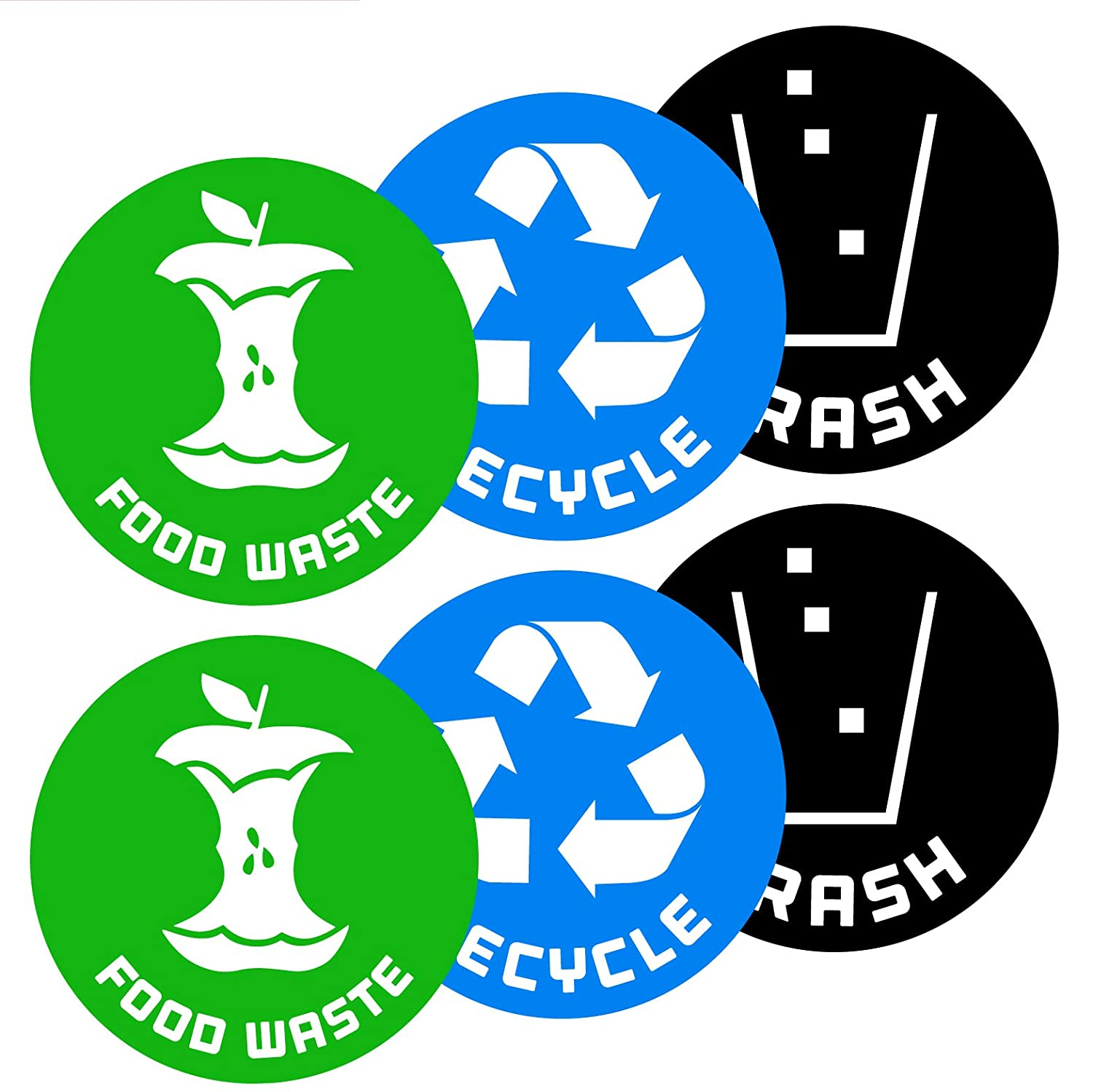 Recycletrash and compost food waste bin logo stickers 6 pack 4in x 4in organize trash for metal or plastic garbage cans containers and bins