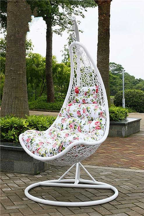 Cesta mimbre silla columpio para colgar interior y exterior terraza adulto única o doble balancín: Amazon.es: Jardín