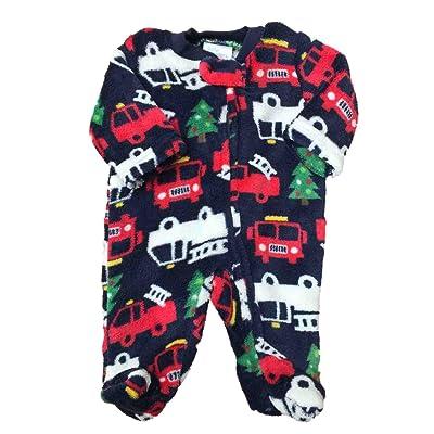 6af08524cc7 Little Wonders Infant Boys Christmas Tree   Firetruck Fleece Pajama Sleeper