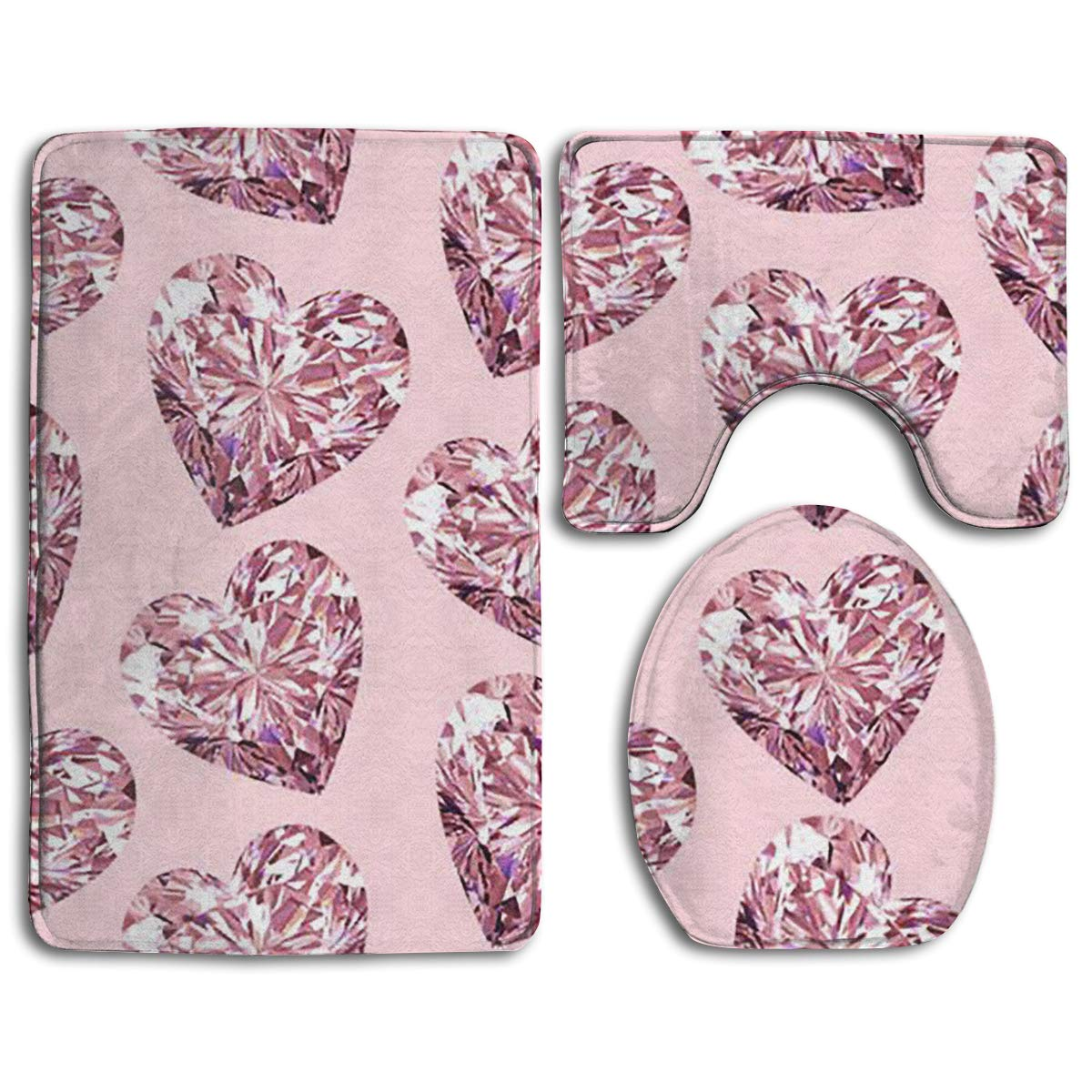 Awe Inspiring Amazon Com Magicai Bling Pink Heart 3 Piece Bathroom Rug Caraccident5 Cool Chair Designs And Ideas Caraccident5Info