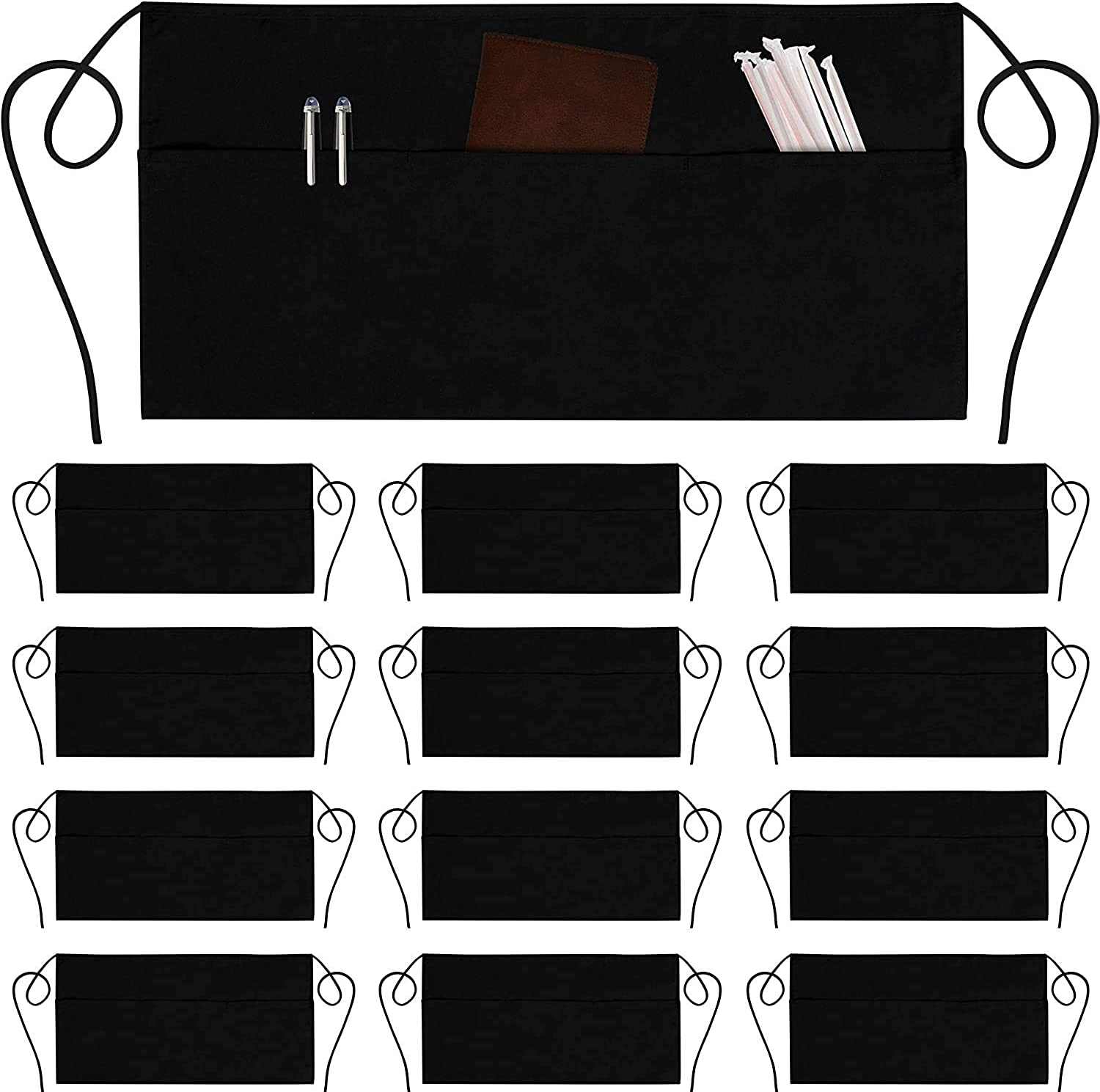 Avalon Kitchen Unisex Server Aprons – Pack of 12 Waist aprons with 3 pockets each – 24x12 inches Aprons Made from 100% Spun Polyester – Multipurpose for indoor & outdoor activities