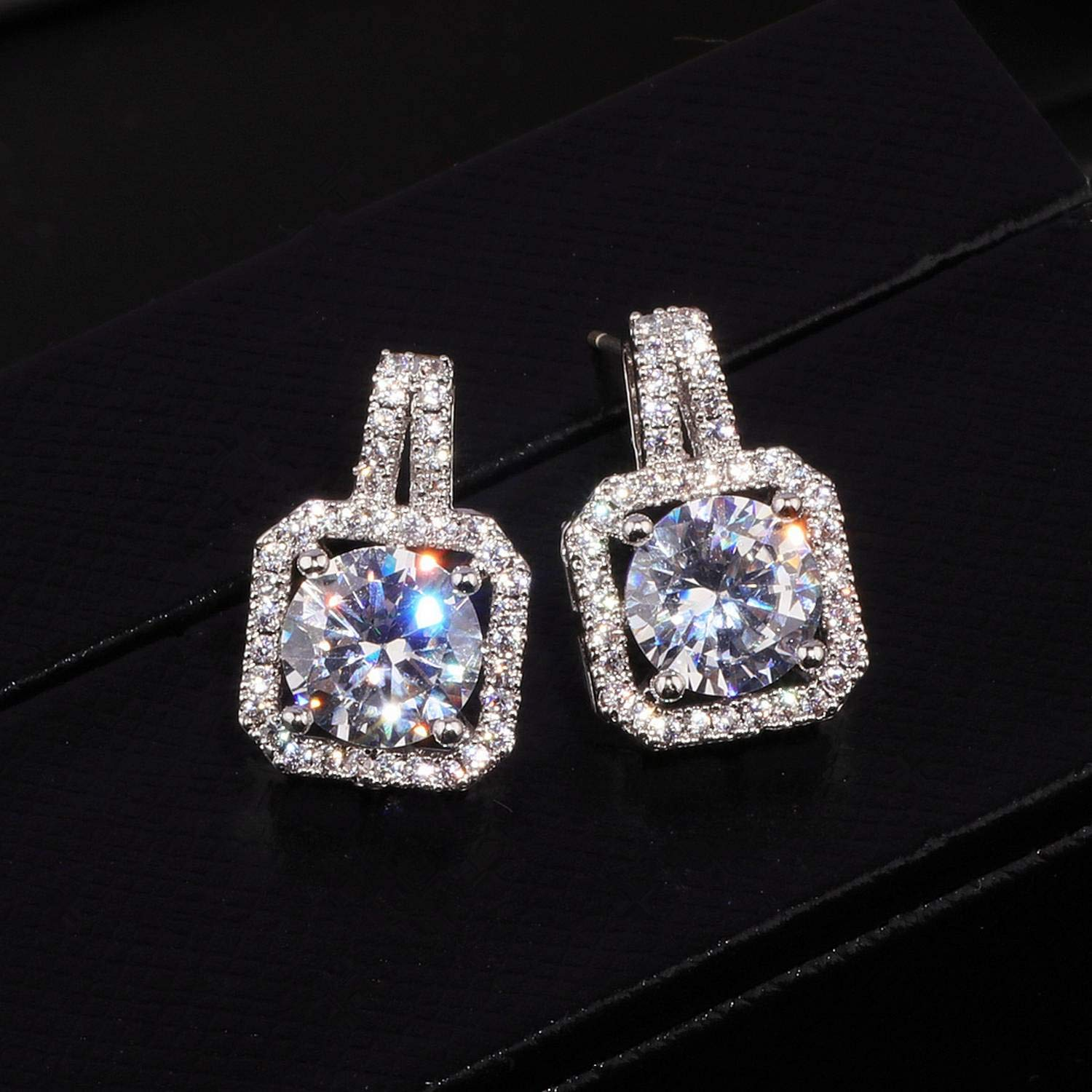 OL Style Luxury Square Austrian Clear Cubic Zirconia Earrings for Women Fashion Party Elegant Wedding Stud Earrings Jewelry E175