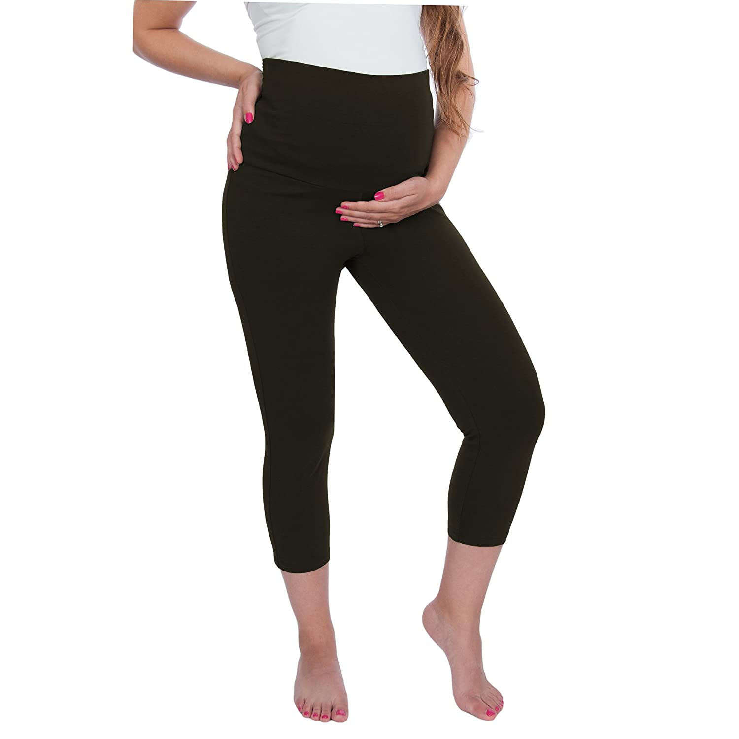 Maternity Yoga Capri Pants Leggings - Fold over waist band Black) CAPRILEGGINGBLKSML