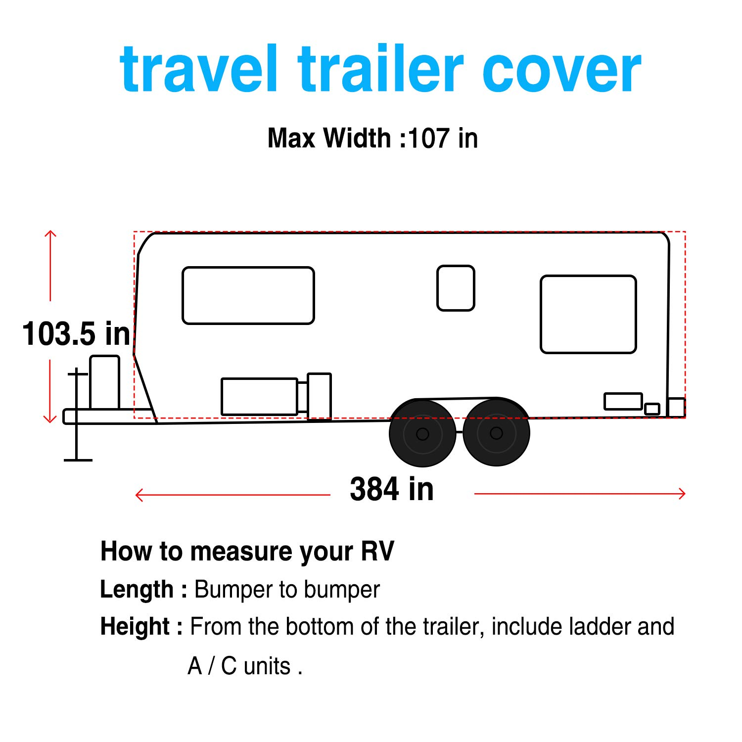 Breathable Waterproof Ripstop Camper Cover with 15 PCS Windproof Buckles /& Adhesive Repair Patch RVMasking Heavy Duty 5 Layers Top Travel Trailer RV Cover Fits 287-316 RVs
