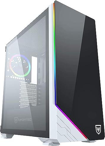 Nfortec Vega RGB - Caja de ordenador para gaming (cristal templado), color blanco y negro: Amazon.es: Informática