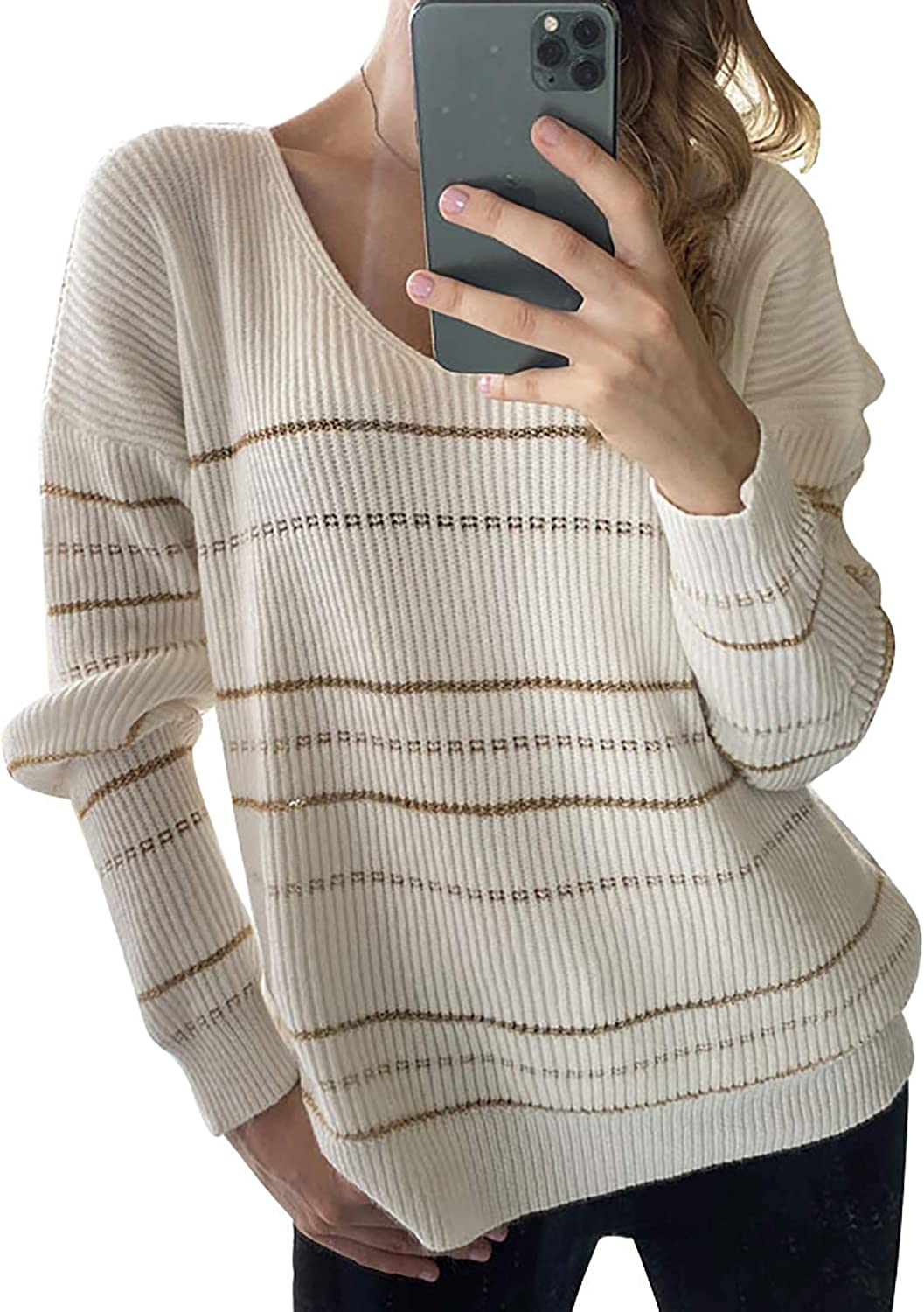 BTFBM Women Casual Striped Print Slouchy Sweaters Long Sleeve Wide V Neck Plain Loose Soft Knitted Jumper Pullover Tops