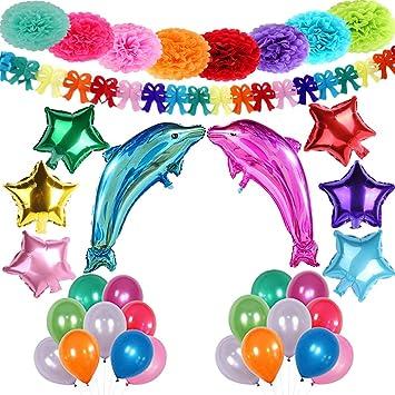 Decoración de Fiesta Arco Iris Niños Pom Poms Globos Delfín Estrellas Helio Gigante & Banner de Papel Mariposa con Látex Globos para Cumpleaños ...