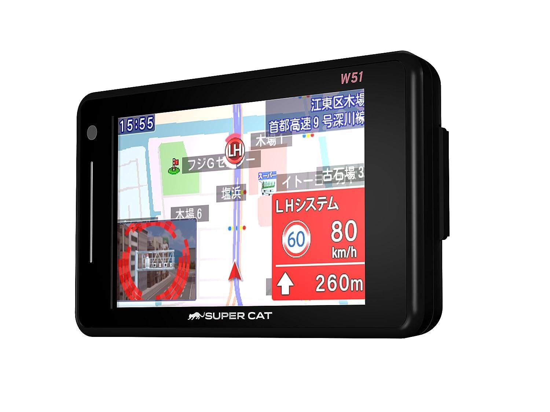ユピテル フルマップレーダー探知機 W51 3年保証 GPSデータ14万件以上 小型オービスレーダー波受信 OBD2接続 GPS/一体型/フルマップ表示/静電式タッチパネル<br />