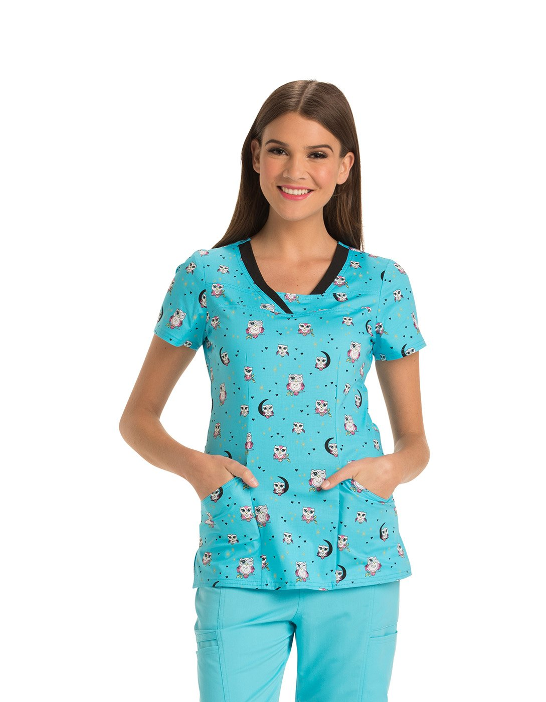 HeartSoul Women's V-Neck Owl Print Scrub Top Medium Print