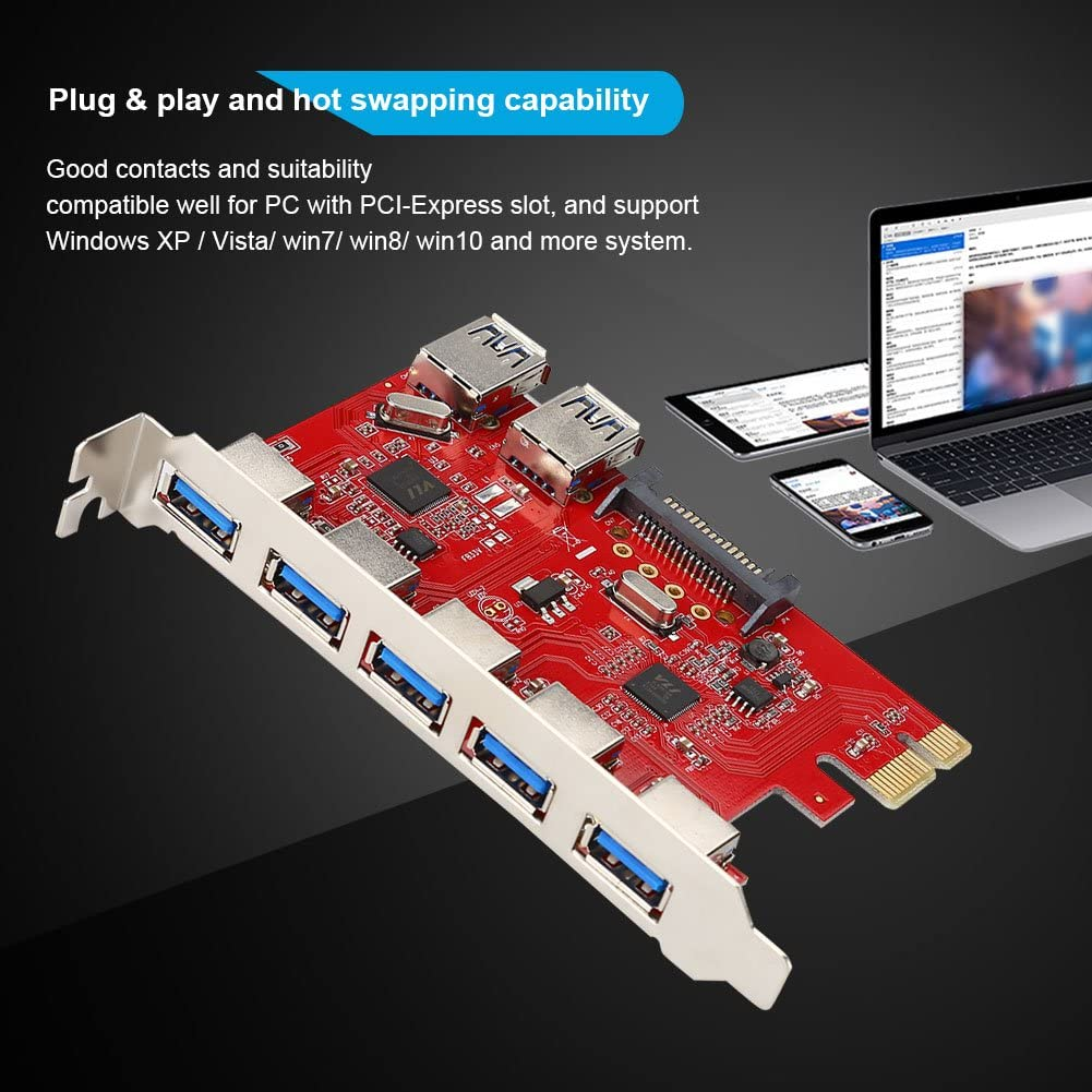 Redxiao Extension Board 1Gbps High Rate Transmission PCI-E to 5 Port USB 3.0 Plug and Play for Win XP//Vista// win7// win8// win10 Card Adapter Module Board
