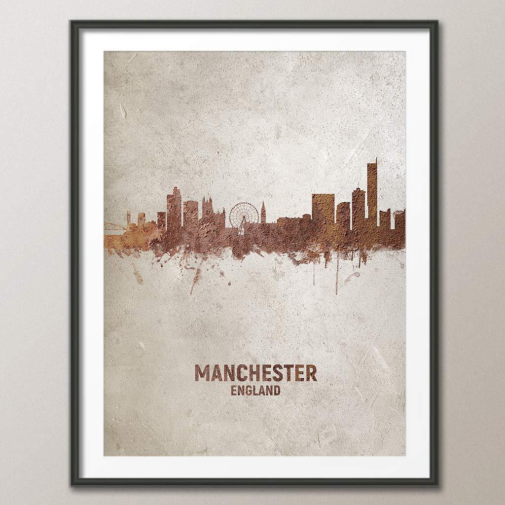 unframed Manchester England Rust Skyline art print 4586
