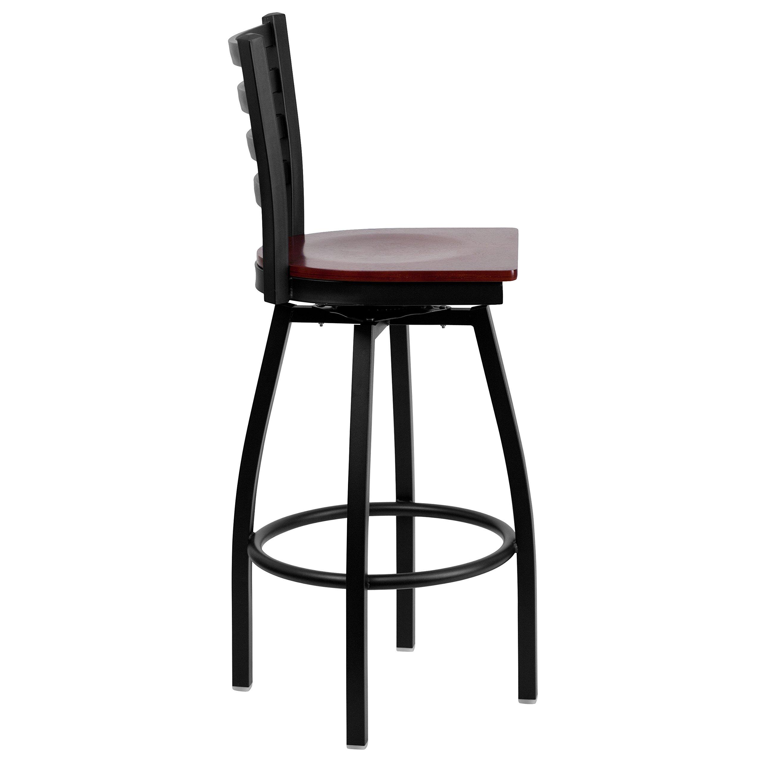 Flash Furniture HERCULES Series Black Ladder Back Swivel Metal Barstool - Mahogany Wood Seat by Flash Furniture (Image #2)