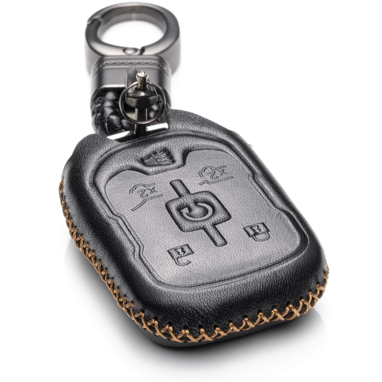 Vitodeco Genuine Leather Smart Key Fob Case Cover Protector with Leather Key Chain for 2015-2019 GMC Yukon 6-Button, Brown Yukon Denali Yukon XL