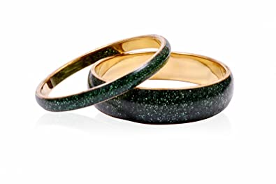 Trendy Baubles Set Of 2: Green Glitter Bangle For Women Women's Bangles at amazon