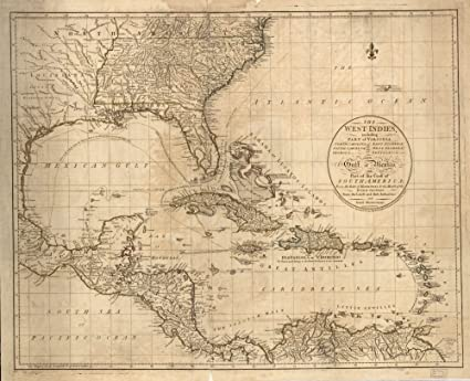 Map Of Florida Georgia South Carolina.Amazon Com Vintage 1783 Map Of The West Indies Including Part Of