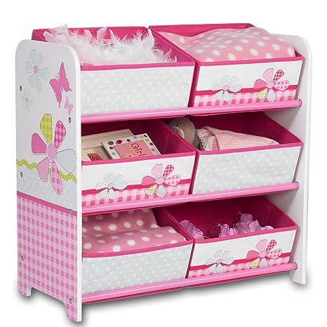 Estantería de almacenaje, caja para juguetes, estantería para niños, 6 cajas, con