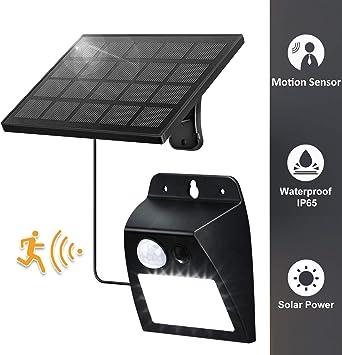 ENCOFT Lámpara de Pared 12 LED Solar Exterior con Sensor de Movimiento PIR, Luz Iluminación Aplique de Pared Solar Impermeable IP65 Retro, Lámpara Solar para Jardín Patio Balcón, Negro: Amazon.es: Iluminación