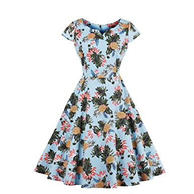 Cotton Automn Dress For Women 60s Vintage Dress Daisy Floral Print Elegant Pattern Belts Feminino Vestidos Swing Dress at Amazon Womens Clothing store: