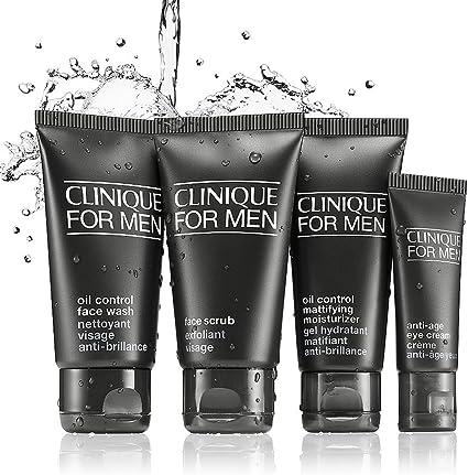Clinique Set de productos esenciales para hombre, piel normal a grasa, 4 productos, ideal para regalo y viaje: Amazon.es: Belleza