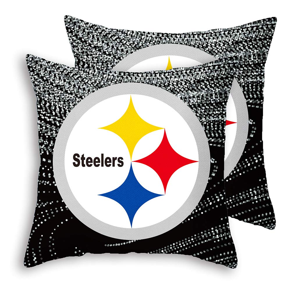 """Gloral HIF Pittsburgh Steelers Throw Pillow Covers Set Pack of 2 Cotton Linen Zippered Pillowcase for Car 18"""" x 18"""""""