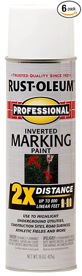 Rust-Oleum 266593-6 266593 Professional 2X Distance Marking Spray Paint,  15-Ounce, White, 6 PK