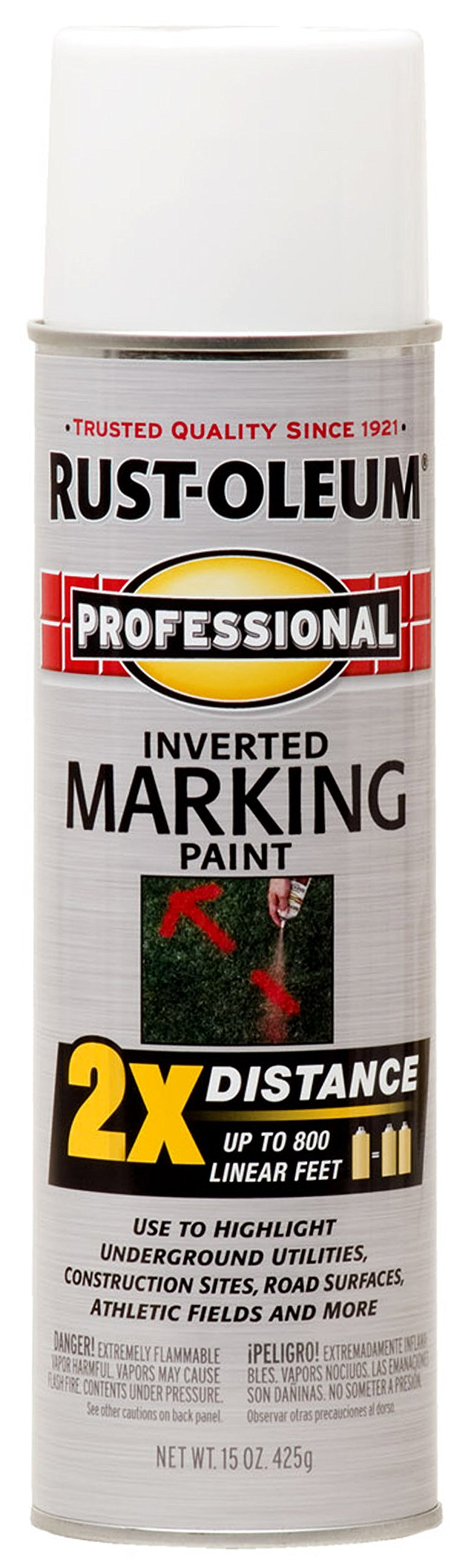 Rust-Oleum 266593-6 PK 266593 Professional 2X Distance Marking Spray Paint, 15-Ounce, White, 6 PK by Rust-Oleum (Image #1)