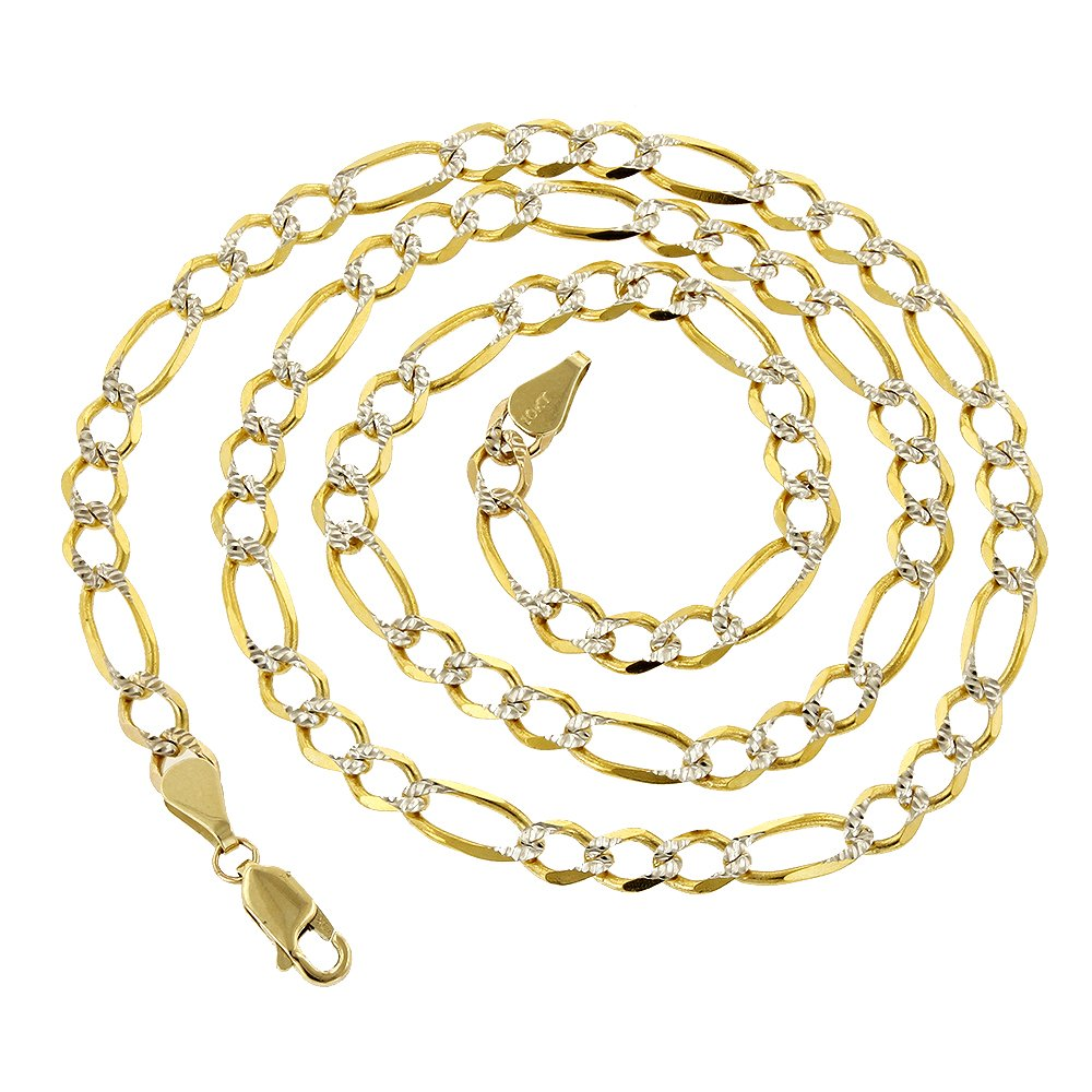 Luxurman 10k Yellow Solid Gold 6mm Wide Figaro White Diamond Cut Chain 18'' long Necklace Lobster Clasp