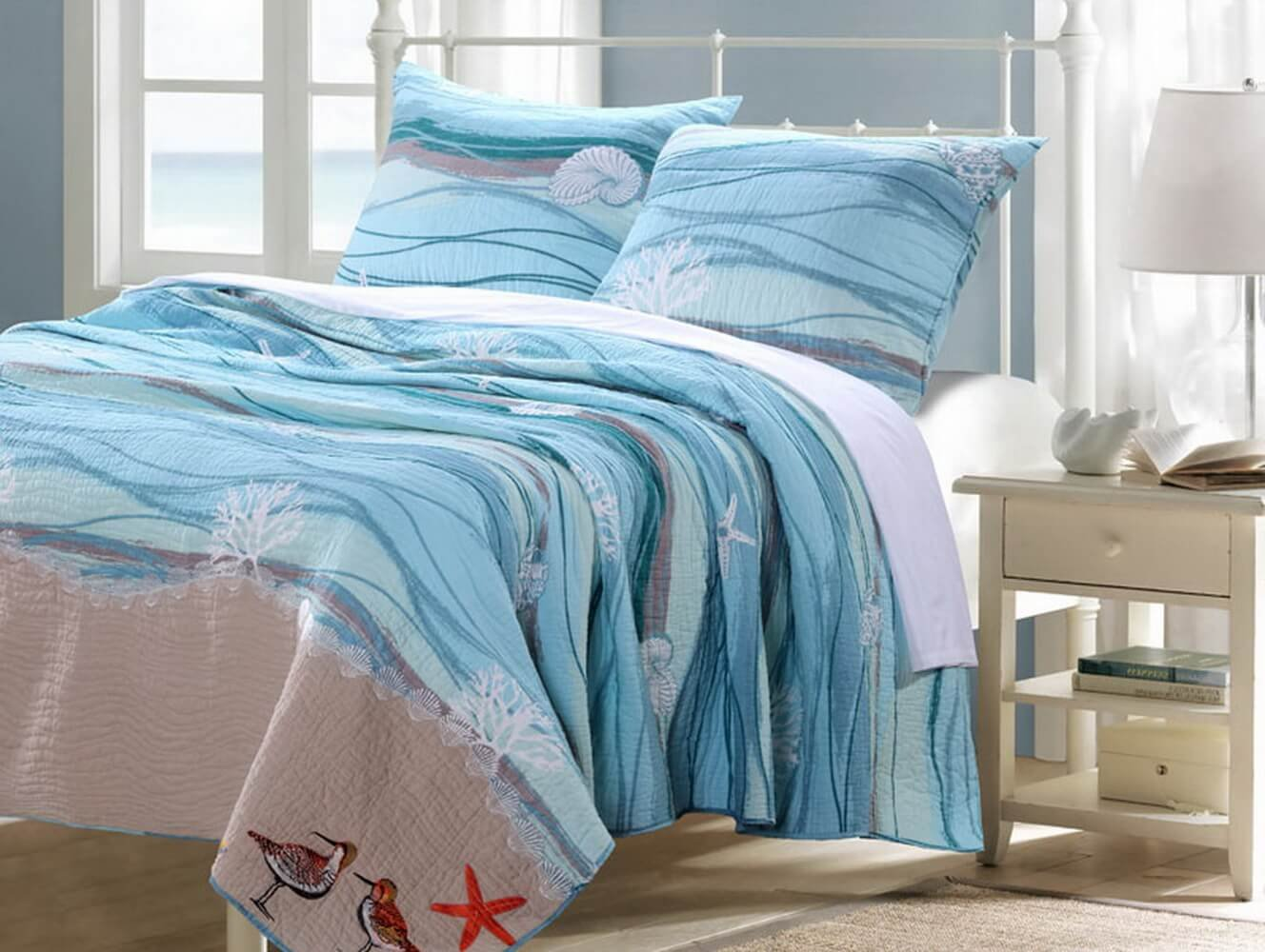 Cotton Bedding Quilt and Sham Set King Size