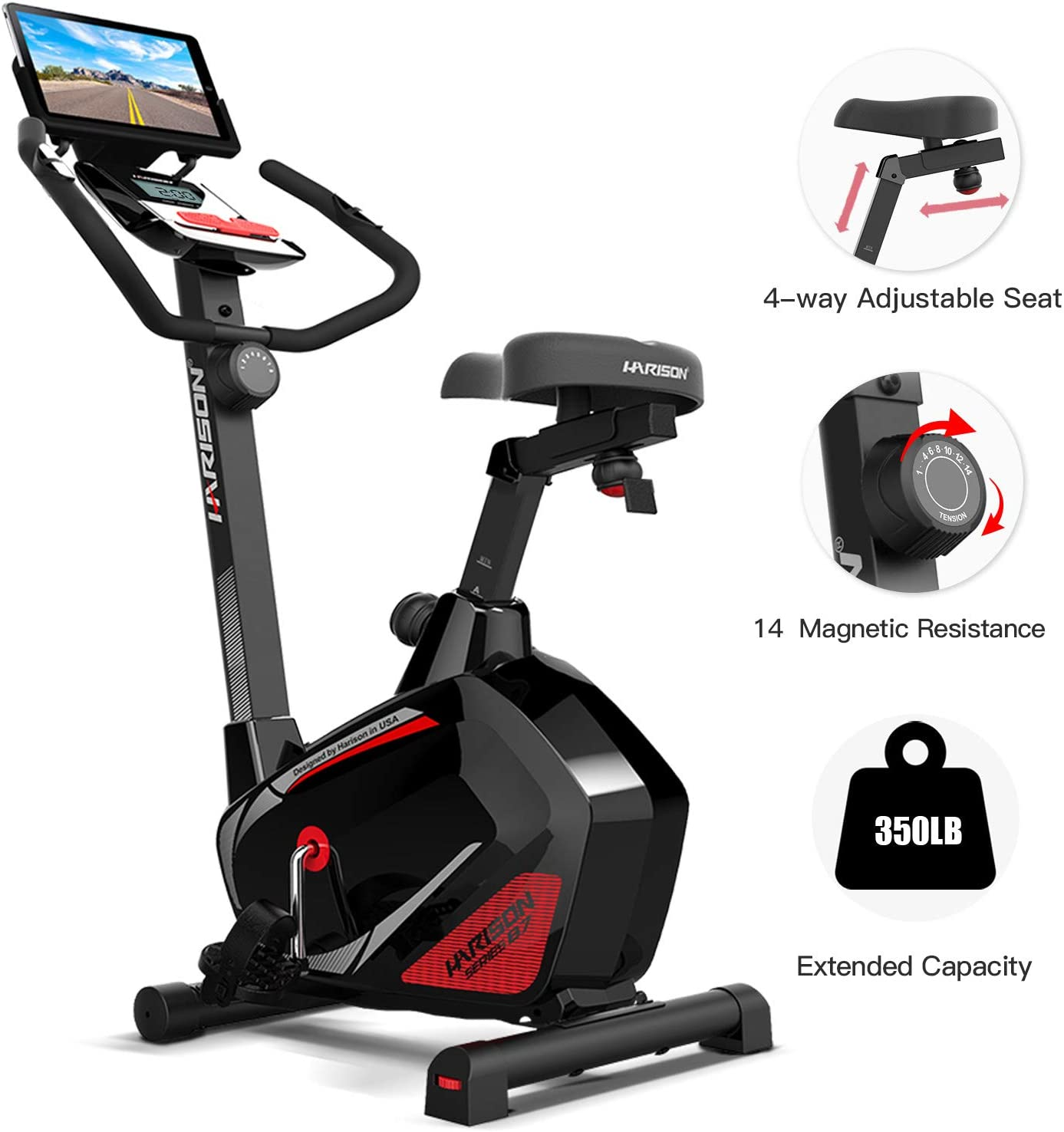 HARISON Magnetic Upright Exercise Bike Stationary with Table Holder 300 LBS Capacity for Home Gym Cardio Workout