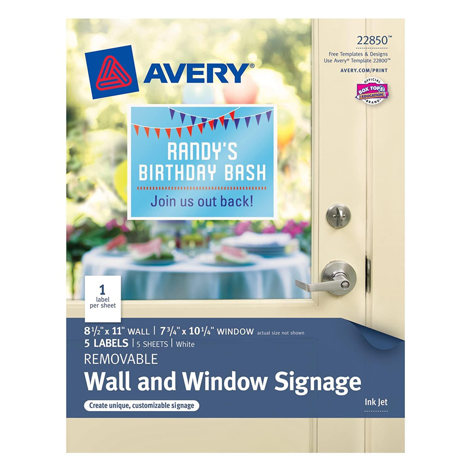 avery removable wall and window signage pack of 5 22850 amazon