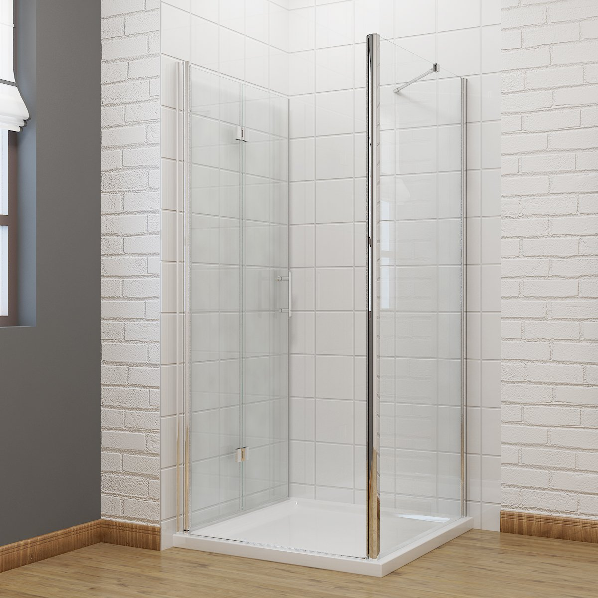 sunny showers 800 x 700 mm Bifold Shower Enclosure Glass Shower Door ...
