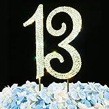 13 Cake Topper | Premium Bling Crystal Rhinestone Diamond Gems | 13th Birthday or Anniversary Party Decoration Ideas…