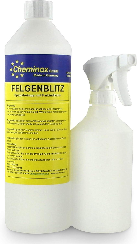 Cheminox Felgenreiniger 1l 1000ml Konzentrat Bis 3 Liter Lösung Felgenpflege Alufelge Stahlfelge Inkl Sprühflasche Auto