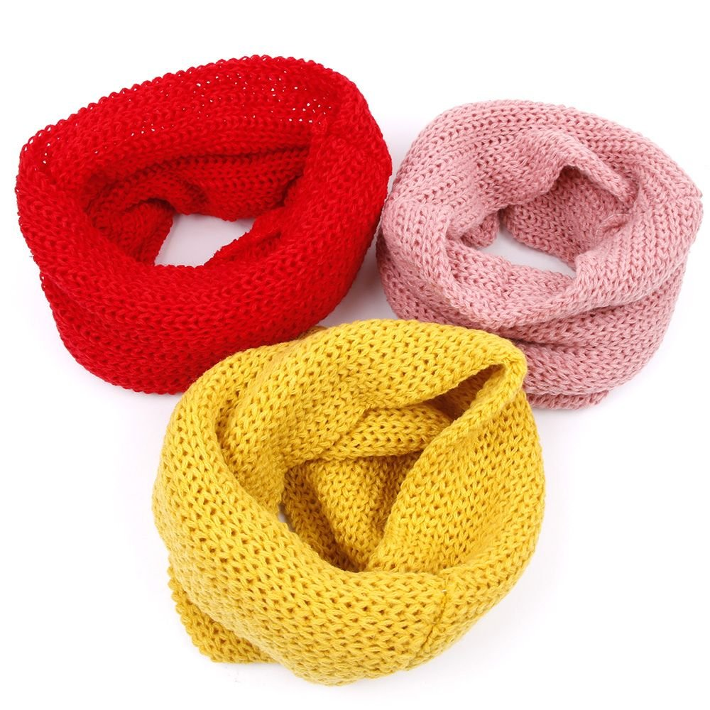 Autumn Soft Knitted Scarf for Girls Boys Woolen Blend Scarf Yellow UTENEW Baby Kids Infinity Scarf Winter Neck Warmer Loop Scarves